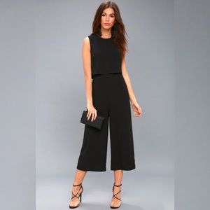 NWT Lulus Black Backless Cropped Midi Jumpsuit